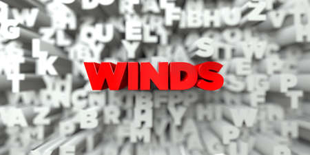 WINDS -  Red text on typography background - 3D rendered royalty free stock image. This image can be used for an online website banner ad or a print postcard.