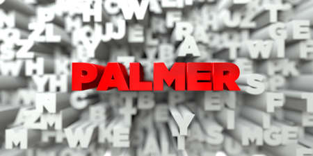 PALMER -  Red text on typography background - 3D rendered royalty free stock image. This image can be used for an online website banner ad or a print postcard. Stock Photo