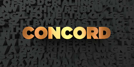 concord: Concord - Gold text on black background - 3D rendered royalty free stock picture. This image can be used for an online website banner ad or a print postcard.