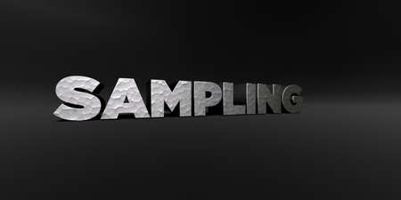 SAMPLING - hammered metal finish text on black studio - 3D rendered royalty free stock photo. This image can be used for an online website banner ad or a print postcard.