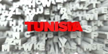 royalty: TUNISIA -  Red text on typography background - 3D rendered royalty free stock image. This image can be used for an online website banner ad or a print postcard.