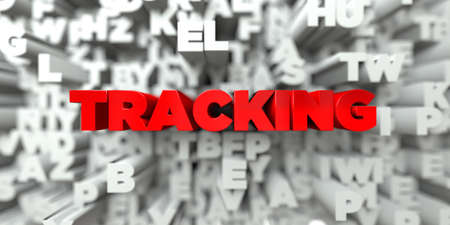 tracking red text on typography background 3d rendered royalty