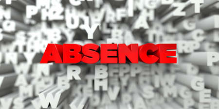 ABSENCE - Red text on typography background - 3D rendered royalty free stock image. This image can be used for an online website banner ad or a print postcard.