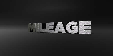 mileage: MILEAGE - hammered metal finish text on black studio - 3D rendered royalty free stock photo. This image can be used for an online website banner ad or a print postcard.
