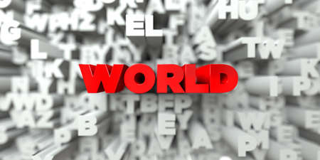sentence typescript: WORLD -  Red text on typography background - 3D rendered royalty free stock image. This image can be used for an online website banner ad or a print postcard.