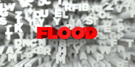 FLOOD -  Red text on typography background - 3D rendered royalty free stock image. This image can be used for an online website banner ad or a print postcard.