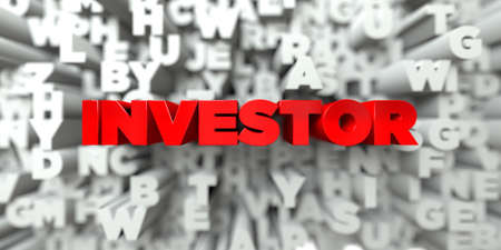 investor: INVESTOR -  Red text on typography background - 3D rendered royalty free stock image. This image can be used for an online website banner ad or a print postcard. Stock Photo