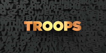 troops: Troops - Gold text on black background - 3D rendered royalty free stock picture. This image can be used for an online website banner ad or a print postcard.