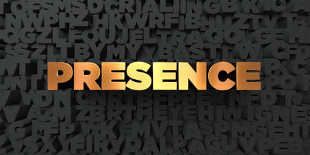 presence: Presence - Gold text on black background - 3D rendered royalty free stock picture. This image can be used for an online website banner ad or a print postcard. Stock Photo