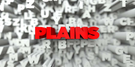 royalty: PLAINS -  Red text on typography background - 3D rendered royalty free stock image. This image can be used for an online website banner ad or a print postcard.