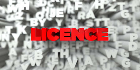 licence: LICENCE -  Red text on typography background - 3D rendered royalty free stock image. This image can be used for an online website banner ad or a print postcard.