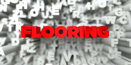 flooring: FLOORING -  Red text on typography background - 3D rendered royalty free stock image. This image can be used for an online website banner ad or a print postcard.