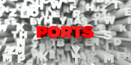 royalty: PORTS -  Red text on typography background - 3D rendered royalty free stock image. This image can be used for an online website banner ad or a print postcard.