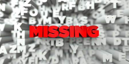 free stock: MISSING -  Red text on typography background - 3D rendered royalty free stock image. This image can be used for an online website banner ad or a print postcard. Stock Photo