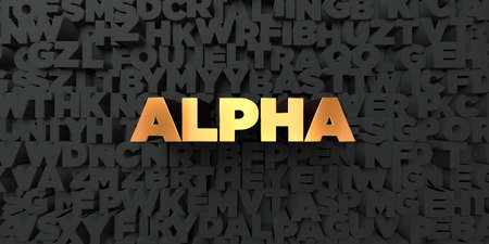 Alpha - Gold text on black background - 3D rendered royalty free stock picture. This image can be used for an online website banner ad or a print postcard. Banco de Imagens