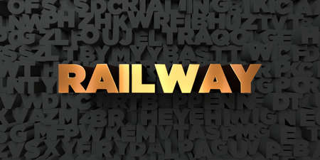 Railway - Gold text on black background - 3D rendered royalty free stock picture. This image can be used for an online website banner ad or a print postcard. Stock Photo