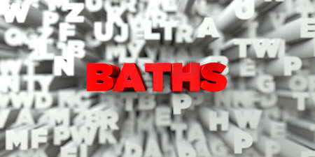 BATHS -  Red text on typography background - 3D rendered royalty free stock image. This image can be used for an online website banner ad or a print postcard. Stock Photo