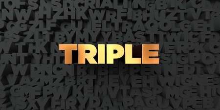 Triple - Gold text on black background - 3D rendered royalty free stock picture. This image can be used for an online website banner ad or a print postcard. Фото со стока