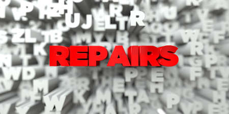 repairs: REPAIRS -  Red text on typography background - 3D rendered royalty free stock image. This image can be used for an online website banner ad or a print postcard.