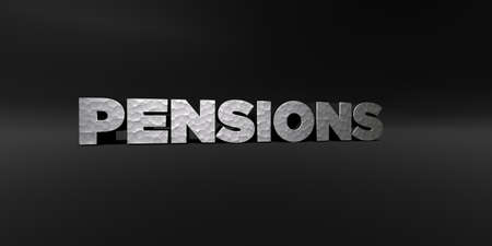 pensions: PENSIONS - hammered metal finish text on black studio - 3D rendered royalty free stock photo. This image can be used for an online website banner ad or a print postcard. Stock Photo