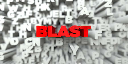 free stock: BLAST -  Red text on typography background - 3D rendered royalty free stock image. This image can be used for an online website banner ad or a print postcard.