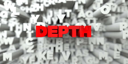 DEPTH -  Red text on typography background - 3D rendered royalty free stock image. This image can be used for an online website banner ad or a print postcard.