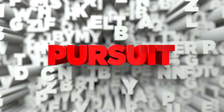 pursuit: PURSUIT -  Red text on typography background - 3D rendered royalty free stock image. This image can be used for an online website banner ad or a print postcard.