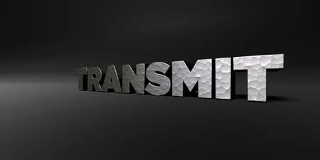 transmit: TRANSMIT - hammered metal finish text on black studio - 3D rendered royalty free stock photo. This image can be used for an online website banner ad or a print postcard. Stock Photo