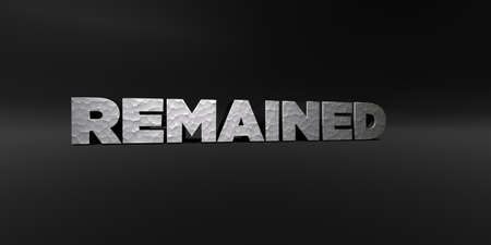 remained: REMAINED - hammered metal finish text on black studio - 3D rendered royalty free stock photo. This image can be used for an online website banner ad or a print postcard. Stock Photo