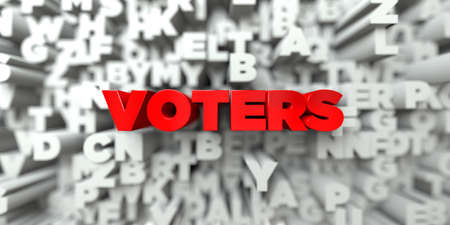 voters: VOTERS -  Red text on typography background - 3D rendered royalty free stock image. This image can be used for an online website banner ad or a print postcard. Stock Photo