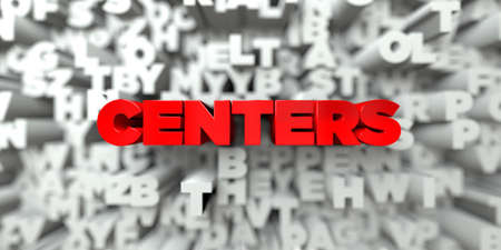 centers: CENTERS -  Red text on typography background - 3D rendered royalty free stock image. This image can be used for an online website banner ad or a print postcard.