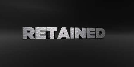 retained: RETAINED - hammered metal finish text on black studio - 3D rendered royalty free stock photo. This image can be used for an online website banner ad or a print postcard.