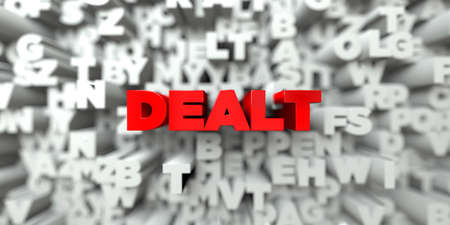 dealt: DEALT -  Red text on typography background - 3D rendered royalty free stock image. This image can be used for an online website banner ad or a print postcard. Stock Photo