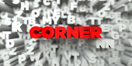 CORNER -  Red text on typography background - 3D rendered royalty free stock image. This image can be used for an online website banner ad or a print postcard. Stock Photo