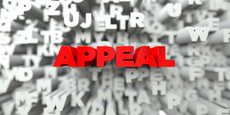 free stock: APPEAL -  Red text on typography background - 3D rendered royalty free stock image. This image can be used for an online website banner ad or a print postcard. Stock Photo