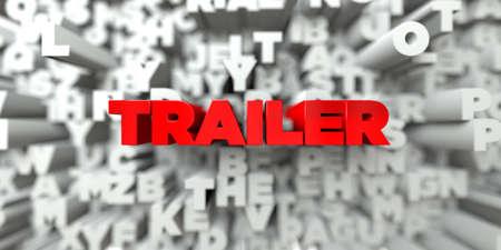トレーラー - タイポグラフィの背景に赤いテキスト - 3 D レンダリングされたロイヤリティ フリー ストック イメージ。この画像は、オンラインの web