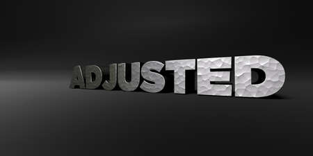 adjusted: ADJUSTED - hammered metal finish text on black studio - 3D rendered royalty free stock photo. This image can be used for an online website banner ad or a print postcard.