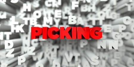 picking: PICKING -  Red text on typography background - 3D rendered royalty free stock image. This image can be used for an online website banner ad or a print postcard.