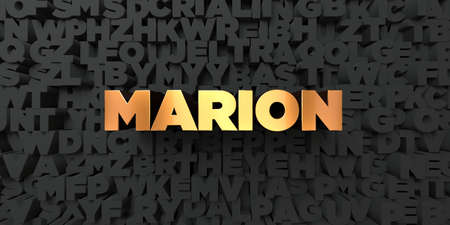 marion: Marion - Gold text on black background - 3D rendered royalty free stock picture. This image can be used for an online website banner ad or a print postcard. Stock Photo