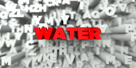 sentence typescript: WATER -  Red text on typography background - 3D rendered royalty free stock image. This image can be used for an online website banner ad or a print postcard.