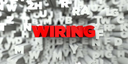 free stock: WIRING -  Red text on typography background - 3D rendered royalty free stock image. This image can be used for an online website banner ad or a print postcard.