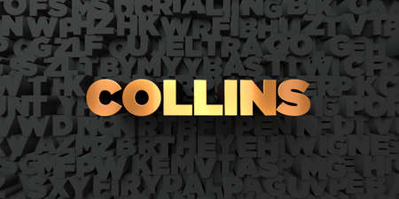 collins: Collins - Gold text on black background - 3D rendered royalty free stock picture. This image can be used for an online website banner ad or a print postcard.