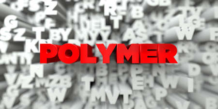 polymer: POLYMER -  Red text on typography background - 3D rendered royalty free stock image. This image can be used for an online website banner ad or a print postcard.