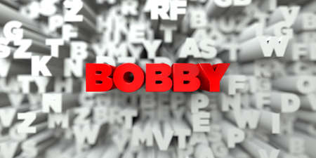 bobby: BOBBY -  Red text on typography background - 3D rendered royalty free stock image. This image can be used for an online website banner ad or a print postcard.