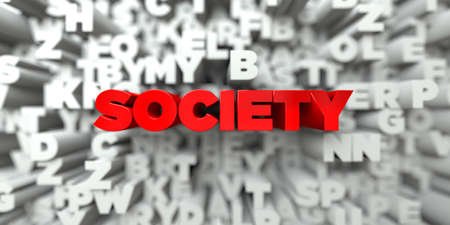 SOCIETY -  Red text on typography background - 3D rendered royalty free stock image. This image can be used for an online website banner ad or a print postcard. Stock Photo