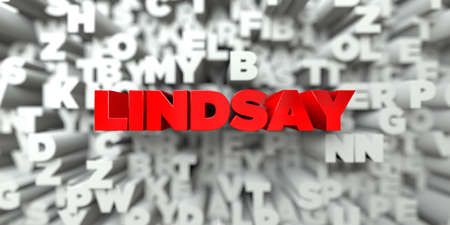 lindsay: LINDSAY -  Red text on typography background - 3D rendered royalty free stock image. This image can be used for an online website banner ad or a print postcard. Stock Photo