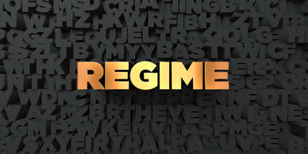regime: Regime - Gold text on black background - 3D rendered royalty free stock picture. This image can be used for an online website banner ad or a print postcard.