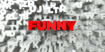 FUNNY -  Red text on typography background - 3D rendered royalty free stock image. This image can be used for an online website banner ad or a print postcard. Stock Photo