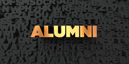 alumni: Alumni - Gold text on black background - 3D rendered royalty free stock picture. This image can be used for an online website banner ad or a print postcard.