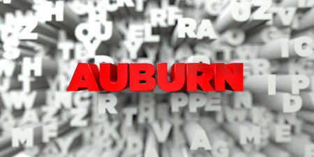 auburn: AUBURN -  Red text on typography background - 3D rendered royalty free stock image. This image can be used for an online website banner ad or a print postcard. Stock Photo